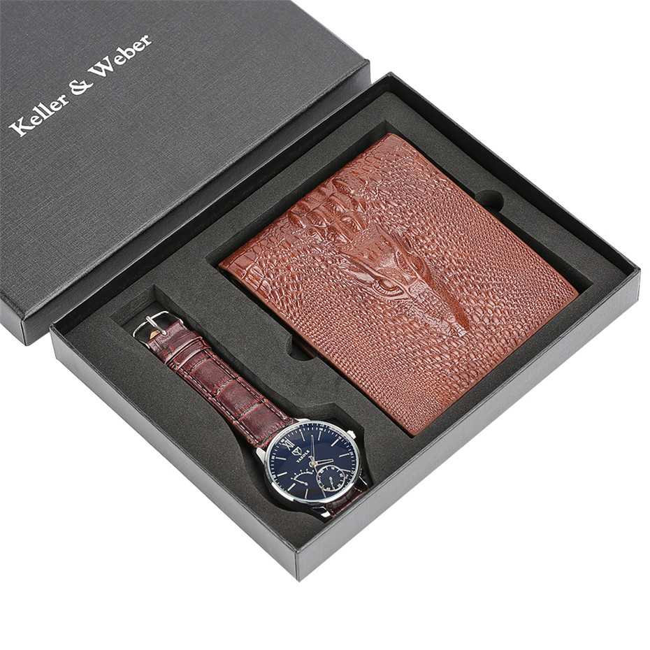 Men Watch Brown Leather Wallet Gift Set For Male Business Men's Quartz Wristwatch Nice Present For Father Boyfriend