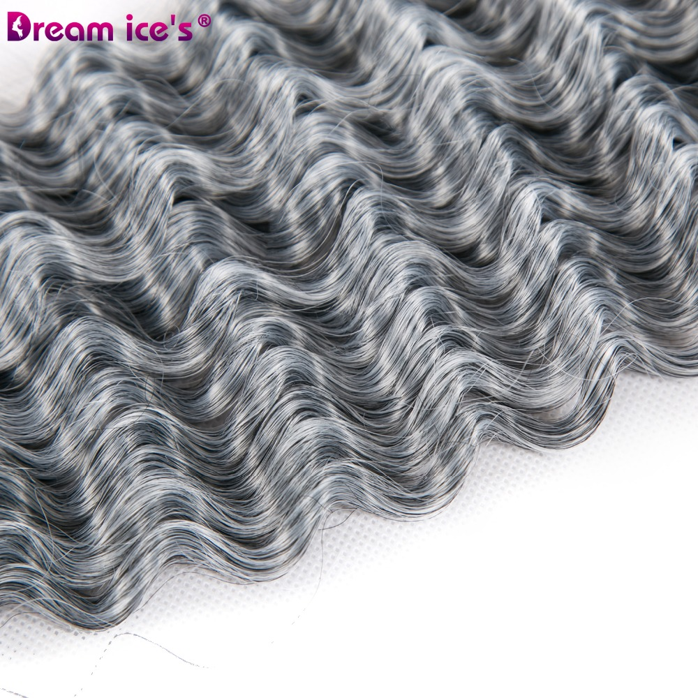 Dream ice 39 s Afro curly pre looped crochet braids hair extension synthetic bulk hair 5 pieces lot full head silver grey braids