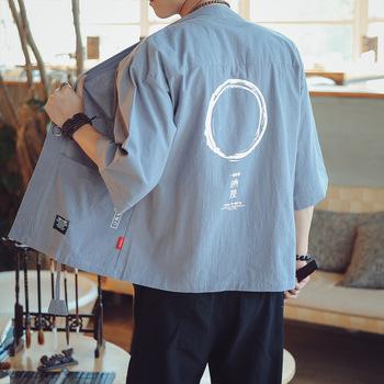 Lato mieszanka lnu i bawełny w chińskim stylu Kimono kurtka dla mężczyzn cienkie ubrania ochrony przeciwsłonecznej Kimono płaszcz pół z długim rękawem odzieży wierzchniej tanie i dobre opinie Rettichbaby Poliester Jednego przycisku PATTERN Drukuj REGULAR Skręcić w dół kołnierz NONE Na co dzień Poliester bawełna