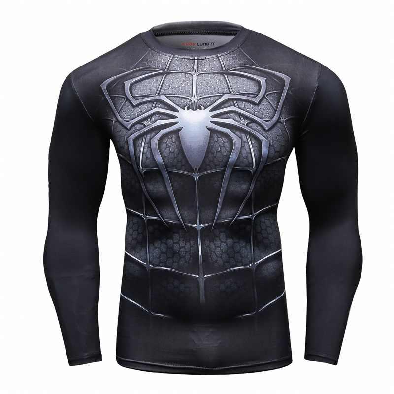 Alta qualidade De Compressão De T Homens da camisa do Homem Aranha 3D Impressão Mangas Compridas Marca MMA Fitness Exercício Divertido Tshirt Tops Sportswear 2018