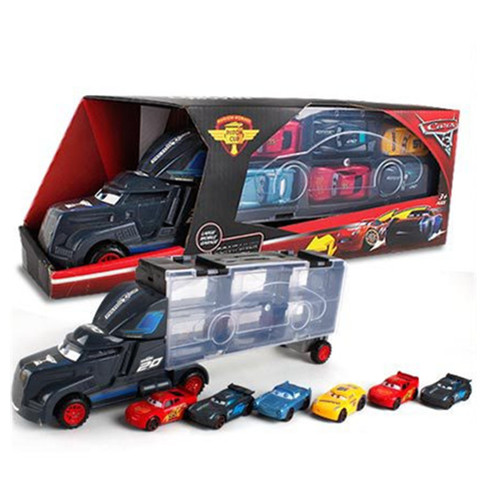 Disney Diecast Metal Alloy Pixar Cars 3 Metal Truck Hauler with 6 Small Cars Disney Cars 3 Jackson Storm McQueen Toys For Kids Islamabad