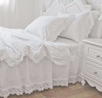Бесплатная доставка 100% хлопок белый вышитые оборками кровать комплект с юбкой корейский Атлас Кружево принцессы постельные принадлежност