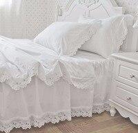 무료 배송 100% 면 흰색 자수 프릴 침대 스커트 세트 한국어 새틴 레이스 공주 침구 트윈 전체 퀸 킹 사이