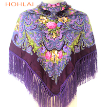 Luxury Brand Russian hotSale New Fashion Ethnic Style Cotton Flower Pattern Big Size Square Tassel Winter Shawl ForWomen floural
