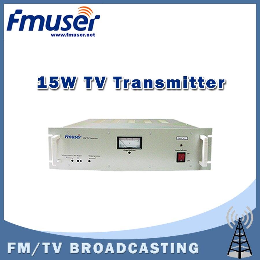Free shipping FMUSER FM-15T 15W TV Transmitter UHF/VHF Analog PAL/NTSC TV transmitter for TV Station free shipping fmuser fu 30c new 30w fm transmitter 0 30w adjustable for fm radio station 1 2 wave dipole antenna kit