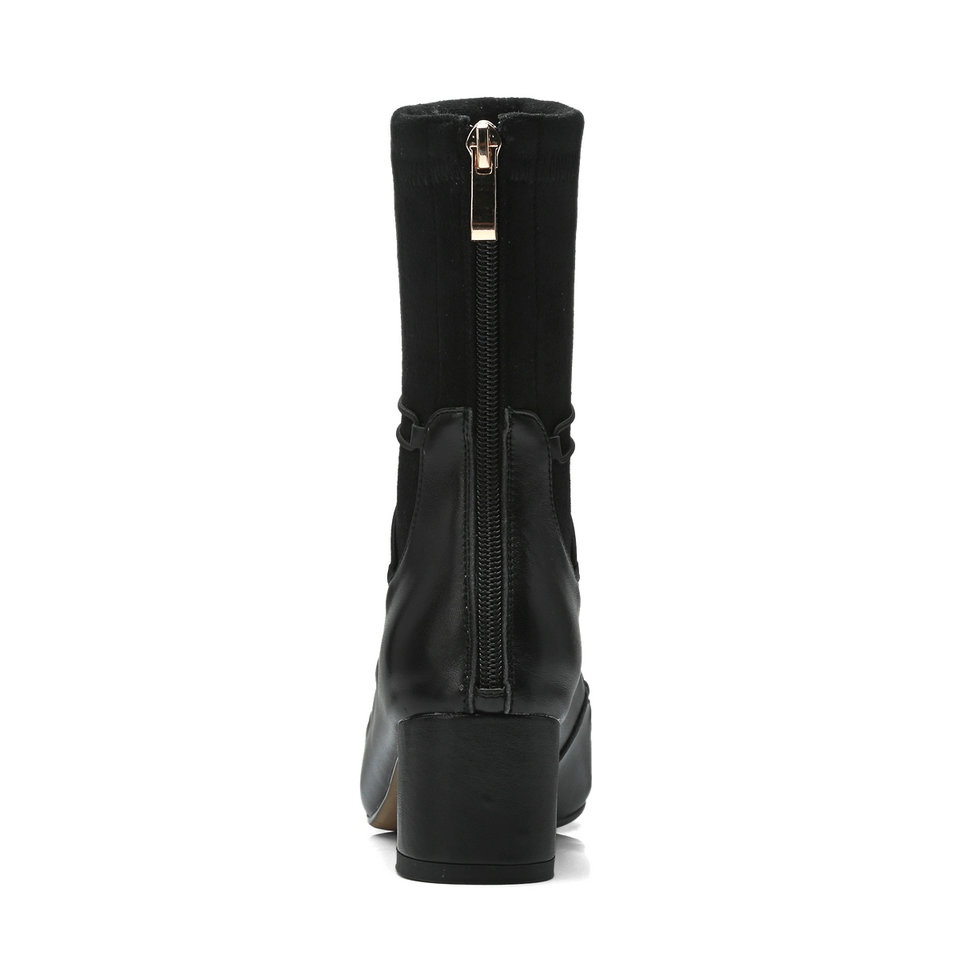 Bourgogne burgundy Pointu Cuir Mi 9 mollet Femme Noir Bottes Chaussures Zipper Bout Pu 3 Femmes Taille Talon Chaussette Med Eshtonshero En Dames 1q4OgwxO