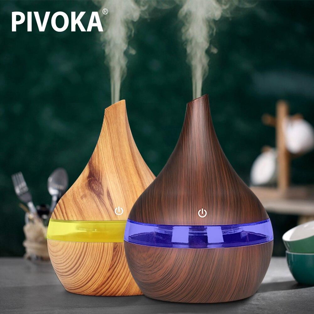 PIVOKA 300 ml USB Elektrische Aroma Air Diffusor Holz Ultraschall-luftbefeuchter Ätherisches Öl Aromatherapie Kühlen Nebel-hersteller Für Home