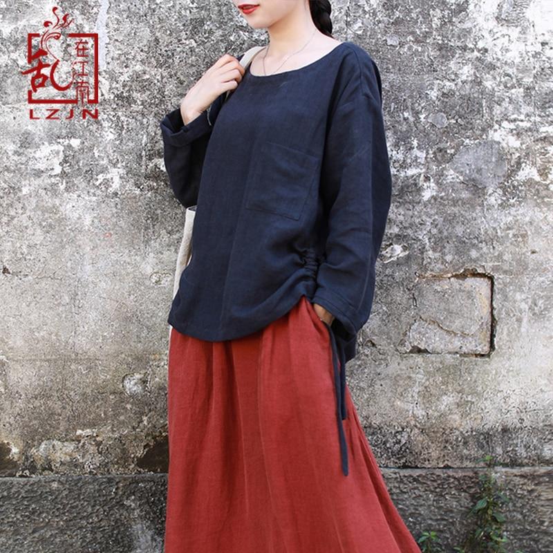 LZJN cordon Blouse à manches longues 2019 printemps automne Vintage chemise en lin femmes o-cou Patch poche Simple Design femmes hauts