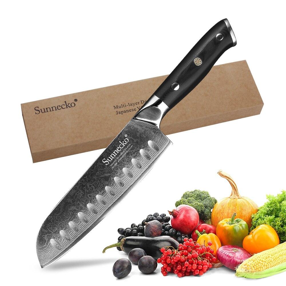 """SUNNECKO 7 """"zoll Santoku Messer Küche Messer Japanischen Damaskus VG10 Stahl Core Razor Sharp G10 Griff Kochmesser Cutter werkzeuge-in Küchenmesser aus Heim und Garten bei  Gruppe 1"""