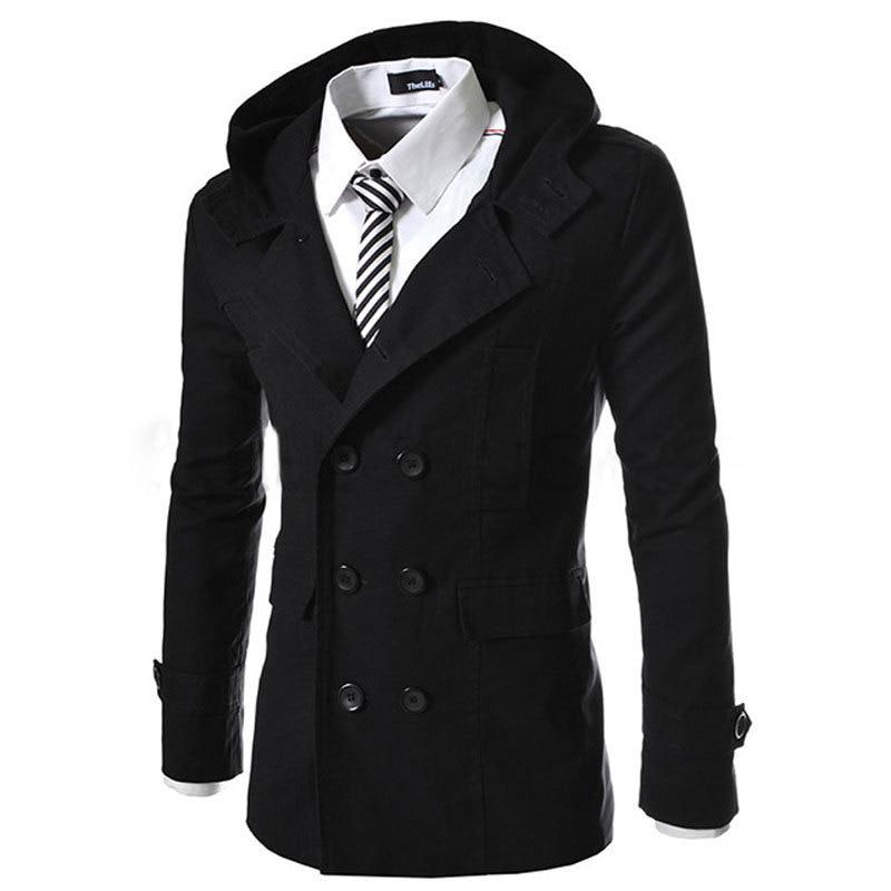Cool Design Black Hooded Trench Coat Men 2017 Spring New Fashion ...