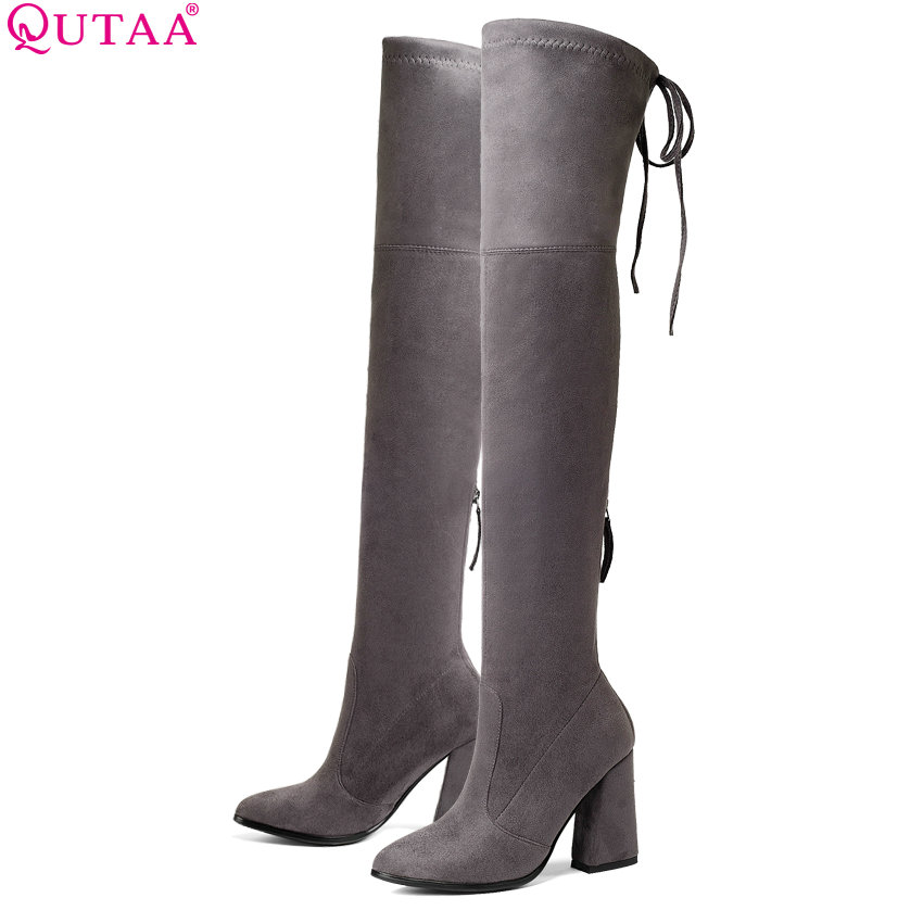 QUTAA 2019 Women Over The Knee High Boots Fashion Women Shoes Platform Hoof Heels Sexy Stretch Fabric Women Boots Size 34-43