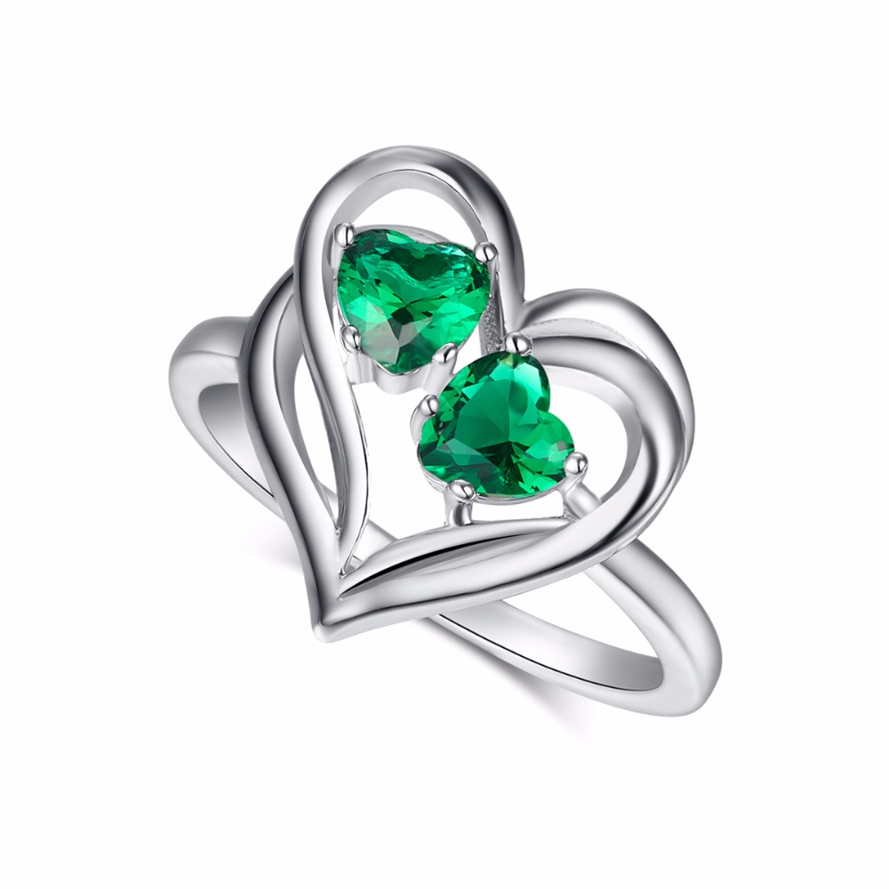 Love Ring Heart Jewelry Hollow Design Top Quality Created Emerald Silver Rings for Women Wedding Jewellery Acessorios Gift Box