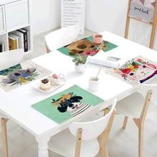 Creative Animal Pattern Napkins Wearing Garland Dog Cat Giraffe Koala Linen Tablecloth Children Tableware Decoration Placemat