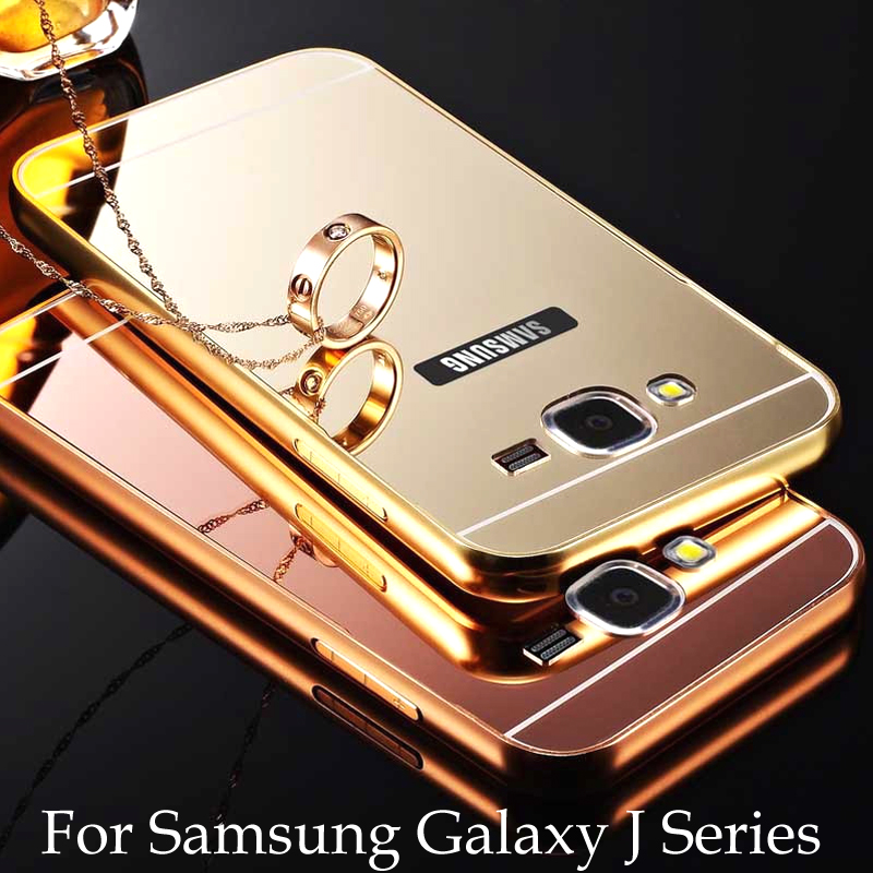 Phone Case For Samsung Galaxy J1 J3 J5 J7 Mini Prime Metal Aluminum Frame Acrylic Mirror Cover Cases For Galaxy J5 J7 Prime