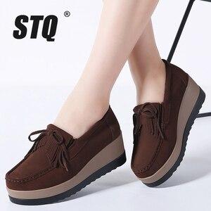 Image 5 - STQ 2020 sonbahar kadın Flats kadın deri süet saçak platformu Sneakers kalın topuk rahat tekne ayakkabı bayanlar loafer ayakkabılar 912