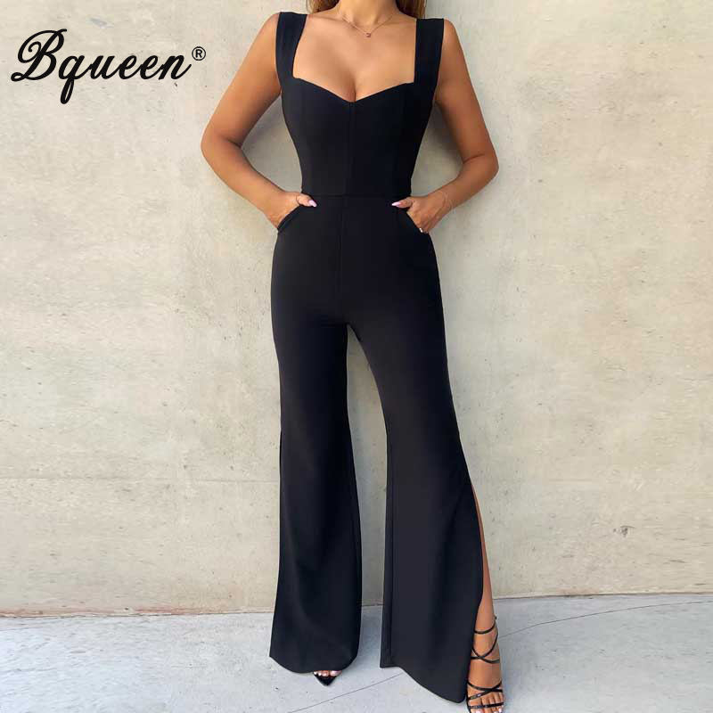 Bqueen Women Bandage Jumpsuits Sexy Straps Sleeveless Backless Wide Legs Pants Club Party Jumpsuit Vestidos 2019