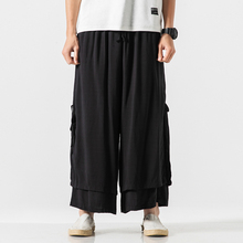 Straight Loose Wide Leg Pants Men Double Fake Two Pieces Casual Trousers Summer Linen Cotton Breathable men pants men argyle print straight leg pants
