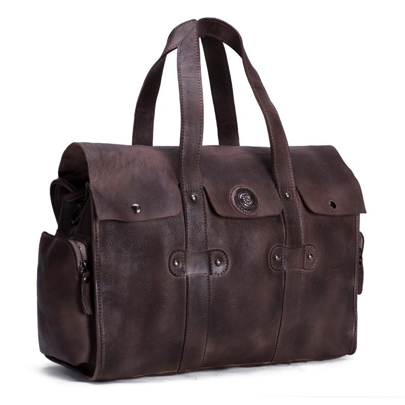 Handmade Vegetable Tanned Leather Tote Bag Travel Bag Overnight Bag 2