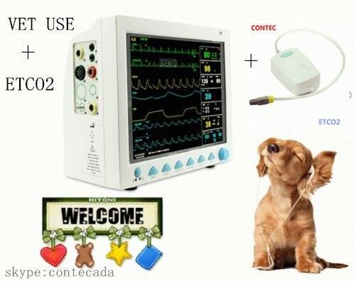 CONTEC Brand New Veterinaria Portatile Monitor Paziente CMS8000VET, Modulo ETCO2, 7 PARA, ECG NIBP SPO2 PR RESP TEMP
