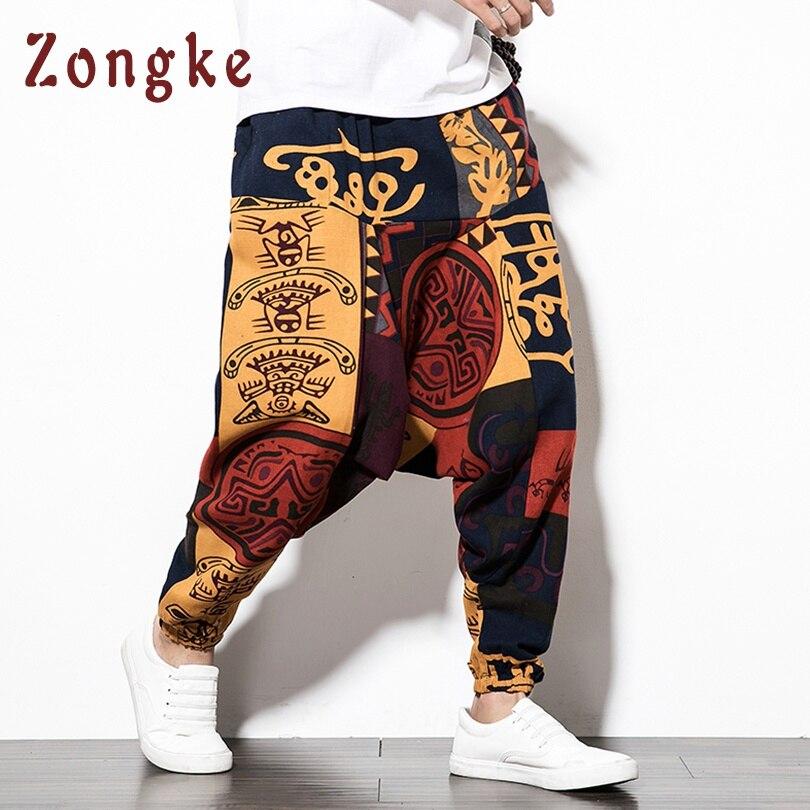 Zongke Chinese National Style Cross-Pants Men Loose Hip Hop Trousers Men Pants Joggers Sweatpants Harem Pants Men 2019 Spring