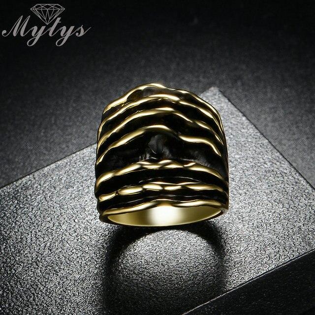 Mytys Oro Argento di Modo di Colore Largo Chunky Strisce Anelli Dello Smalto Linea d'onda Dichiarazione Anello Per Le Donne Two Tone Stile R1910 R1911