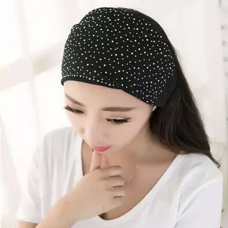 LNRRABC Women Elasticity Head Wrap Soft Hair Band Rhinestones   Headwear   Turban Twist Headbands Sports Headdress Accessories Tiara