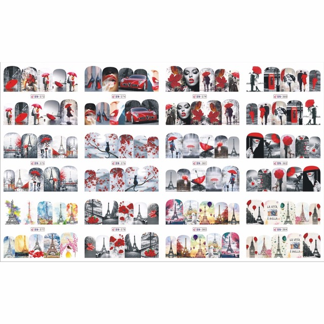 12 PAK/PARTIJ WATER DECAL NAIL ART STICKER VOLLEDIGE COVER DROOM AUTO URBAN FASHION LADY ROKEN PARIJS TOREN BN373 384