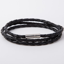 BlackRetro Wrap Long Leather Bracelet Women & Men Bangles Fashion Sprot Chain Link Charm Bracelet