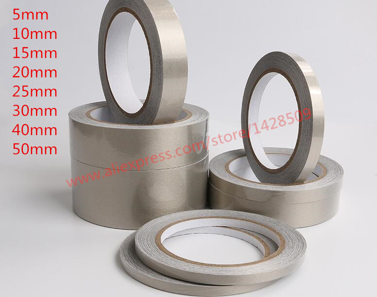 Low Price Different Width 20m Silver Conductive Fabric Cloth Tape LCD EMI  Anti-Radiation Shield Double-sided Silver Grey Tape