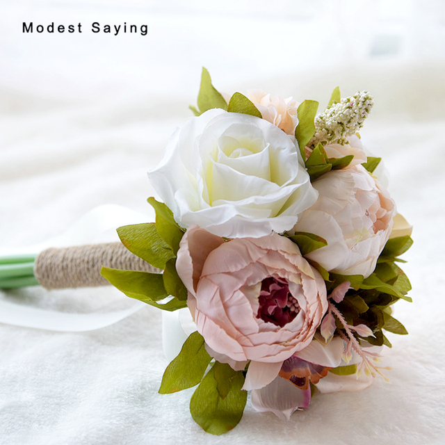Countryside Style Artificial Peony Wedding Bouquet 2017 Bridal Hand Bouquets Bridesmaid Ramo De Flores