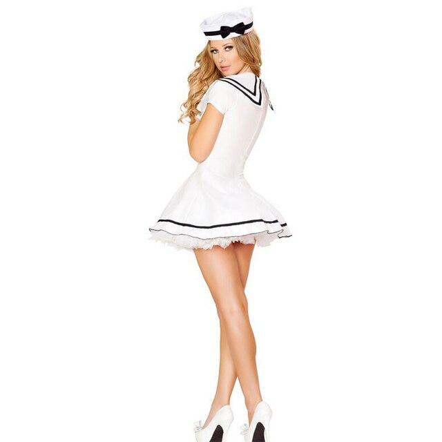 500413684 Blanco traje de marinero mujeres cuatro Botones erótico marinero traje para  mujer del marinero role playing