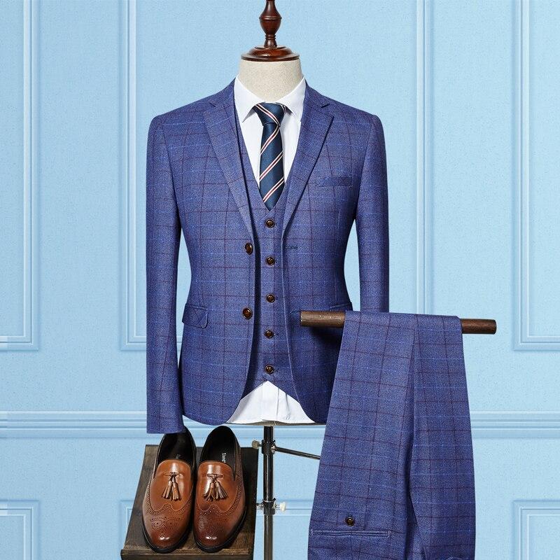 (jacket+vest+pants) High Quality Men Suits Fashion Grid Stripe Men's Slim Fit Business Wedding Suit Men Wedding Suit #6