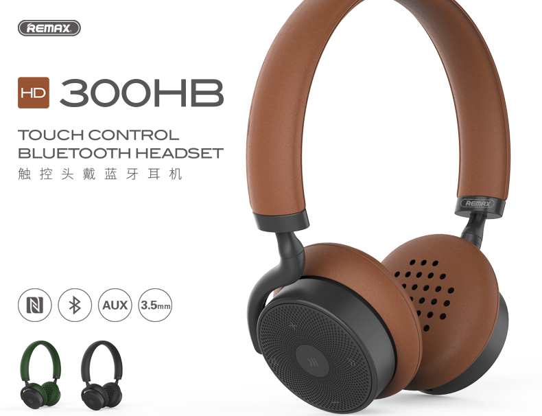 Remax RB-300HB 300HB touch head wireless Bluetooth headset music fancier high quality AUX interface