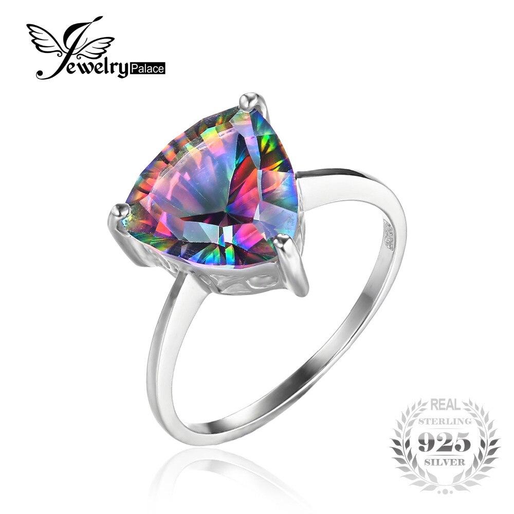Prix pour Jewelrypalace naturel arc-en-feu mystique topaze anneau pour femmes concave cut pur solide 925 en argent sterling de mode pour les femmes