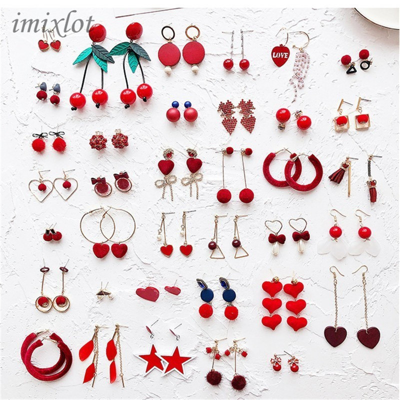 Korean Red Pom Pom Fur Ball Drop Earrings Fashion Velvet Bow Love Heart Flower Circle Geometry Earring For Women Wedding Jewelry