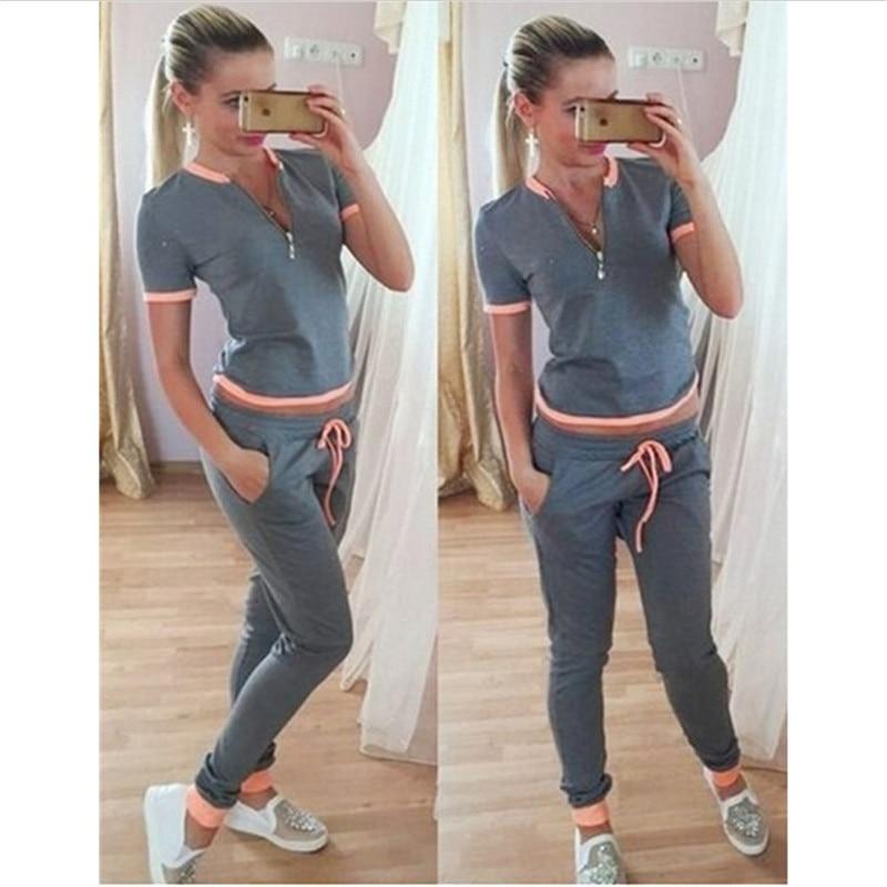 2017 Summer tracksuit women sweat shirt Print tracksuit Long Pants Pullover Tops Womens set Women SportSuits