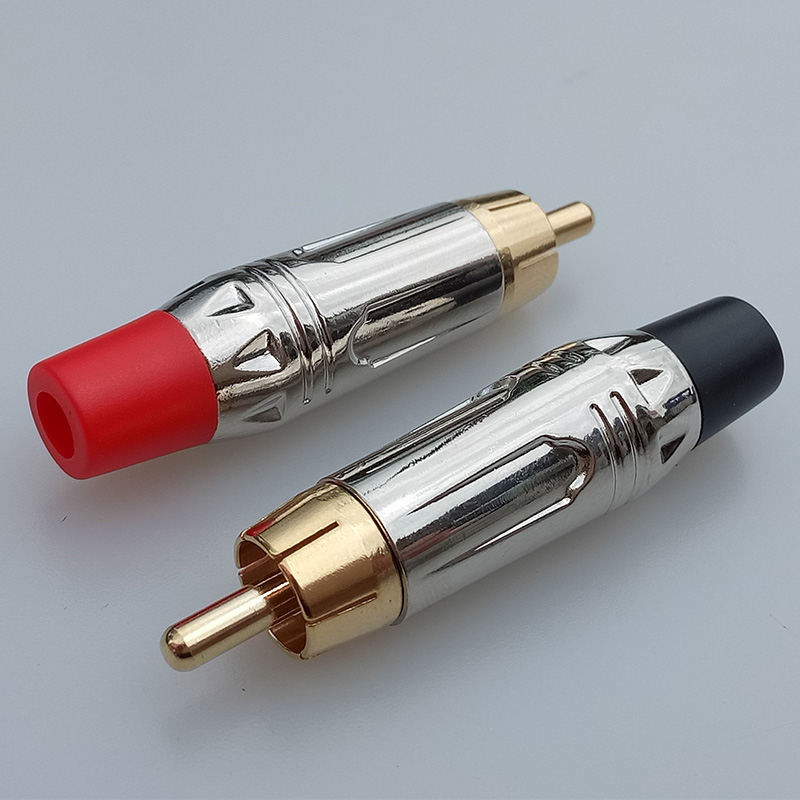 10pcs RCA Male Plug Gold+Nickel Plated RCA Connector Audio Cable ...