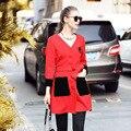L-XXXL 4XL 5XL Длинную Траншею Пальто 2016 Новая Осень Женщины V шеи Поясом Slim Fit Карманный Красный Пиджаки Плюс Размер Clothing