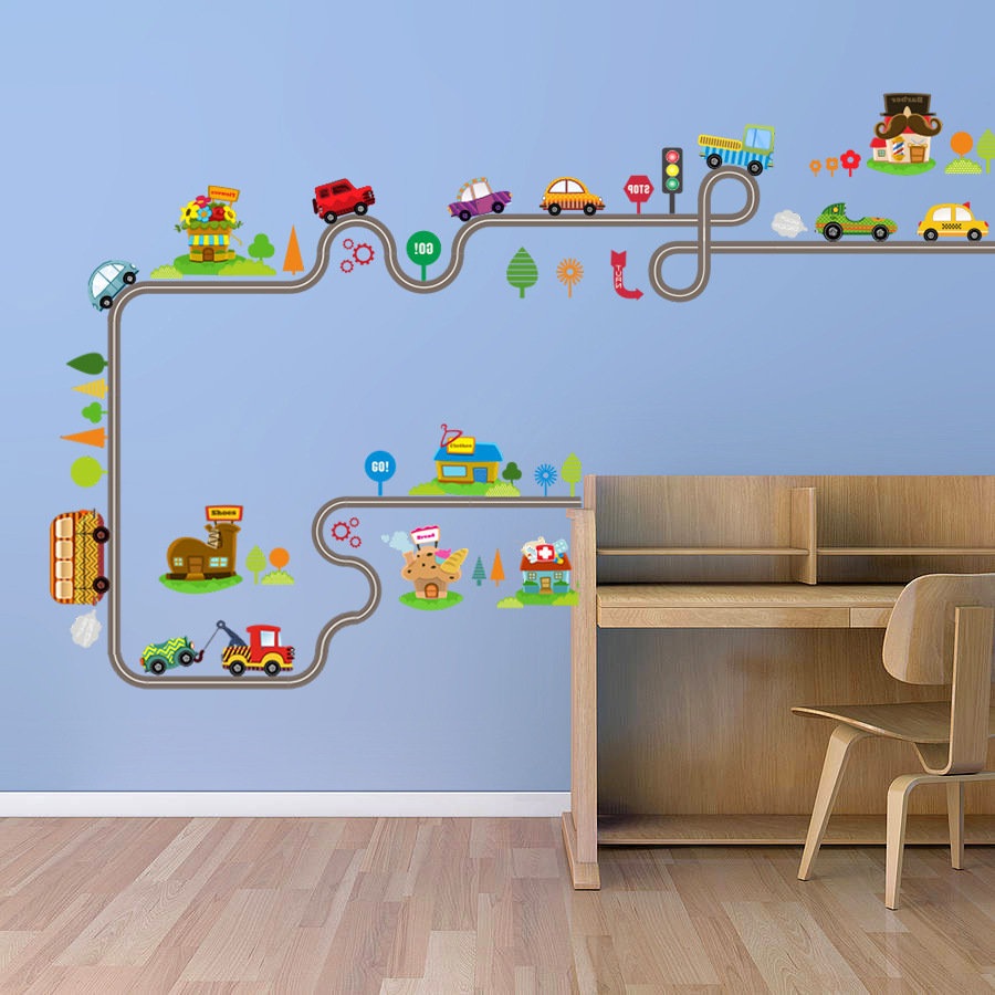 Cartoon car bus highway track wall stickers kids rooms for Wall decals kids room