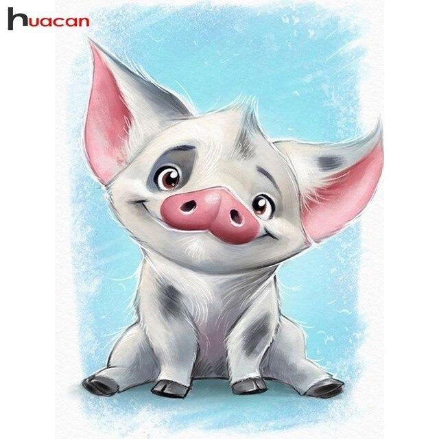 HUACAN 5D DIY бриллиант картина мультфильм свинья полная дрель Новое поступление мозаика вышивка крестиком Алмазная вышивка дома