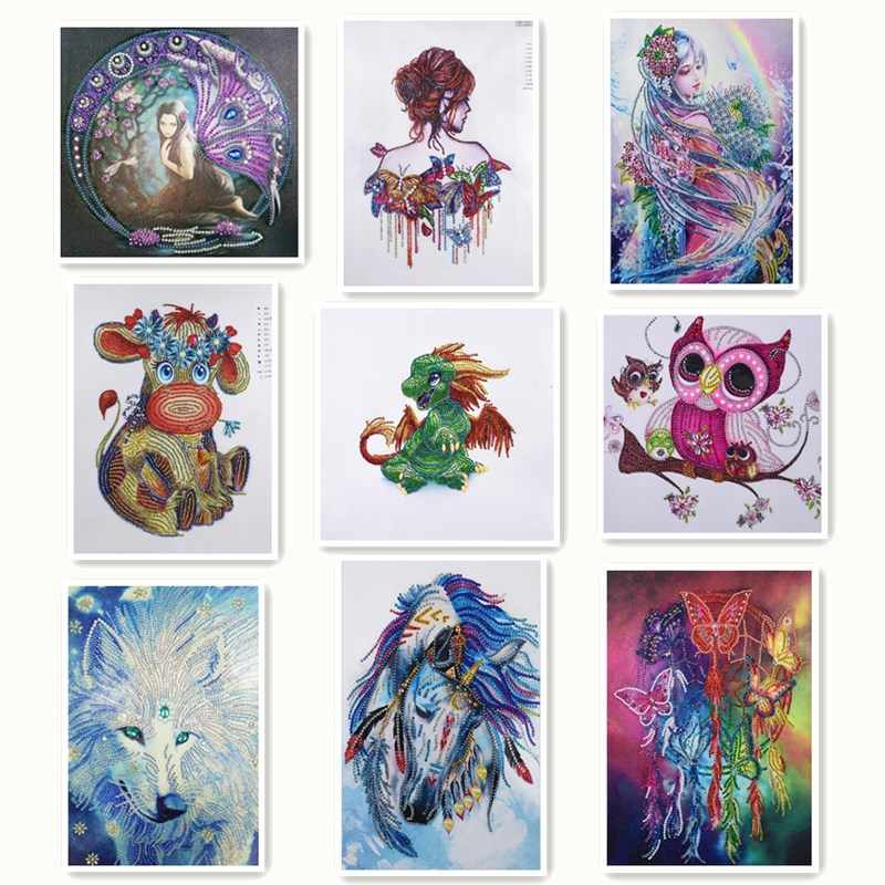 "cartoon 5D DIY Diamond Painting Cross Stitch""fairy"" Diamond Embroidery partial special shaped Rhinestones Home Decor animal"