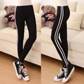2016 New Autumn Women Casual Skinny Cotton Elastic Leggings Side Stripe Workout Leggings Pants Women's Clothing Plus Size