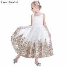 White Tulle Flower Girls Dresses 2019 Erosebridal Wedding Party Girls Dress Gold Appliques A Line Zipper Back R-236 Cheap Price