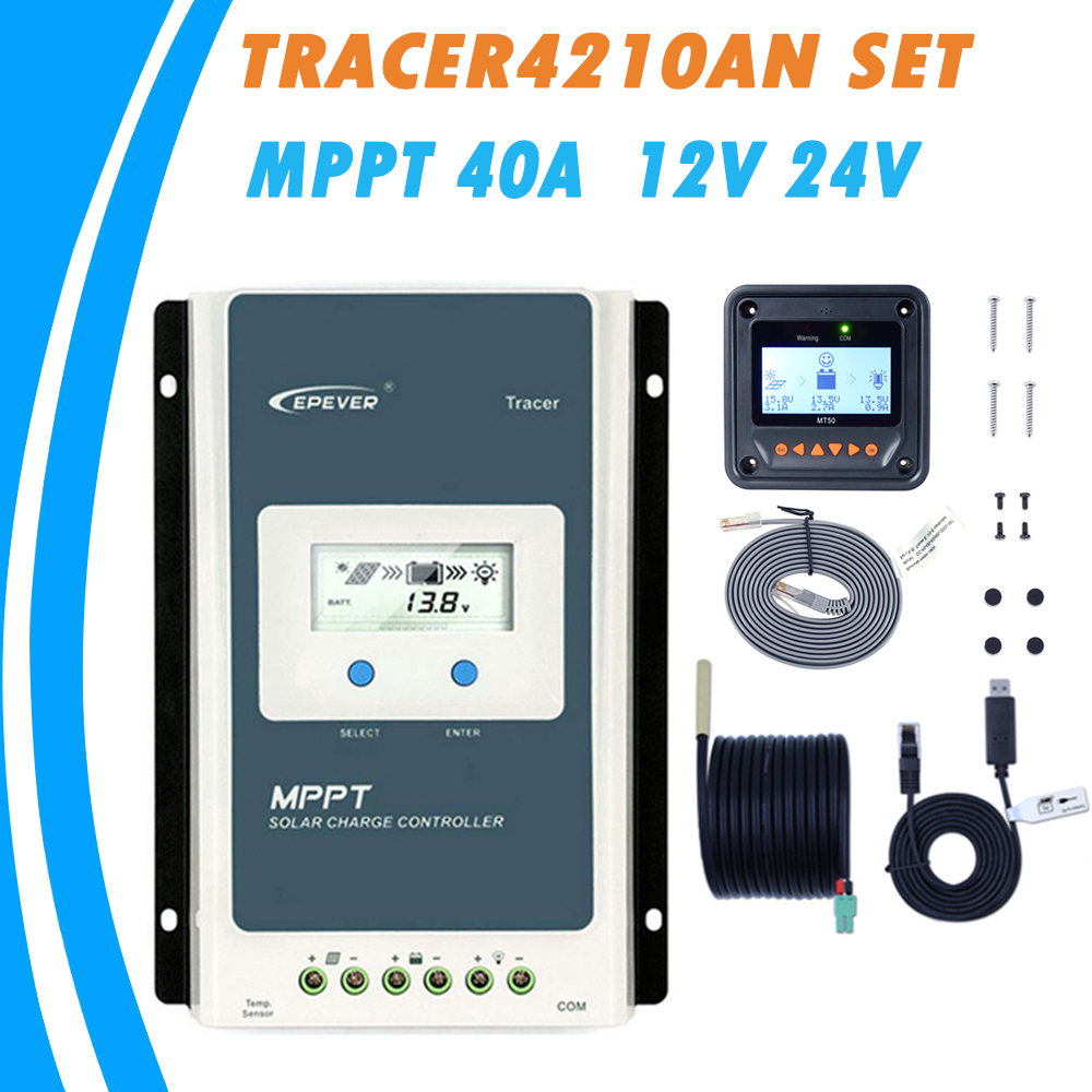 4210AN MPPT 40A Solar Charger Controller LCD 12V 24V Auto EPEVER Tracer4210AN Regulador Solar with MT50 2400W 100V Solar Panel-in Solar Controllers from Home Improvement