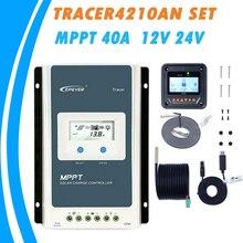 4210an mppt 40a 태양 열 충전기 컨트롤러 lcd 12 v 24 v 자동 epever tracer4210an regulador 태양 mt50 2400 w 100 v 태양 전지 패널