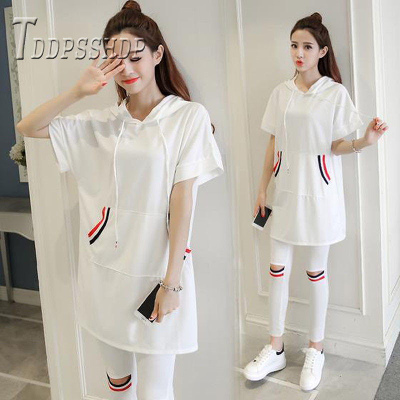 2019 Summer Plus Size Do Exercise Women Sets Black And White Color T Shirt And Pants Female Set