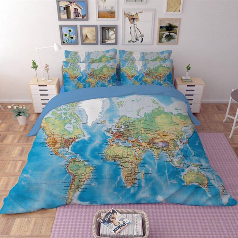 luxury world map bedding set vivid printed blue bed cover twill cozy cotton duvet cover set king full sizes 34pcs bed linen in bedding sets from home