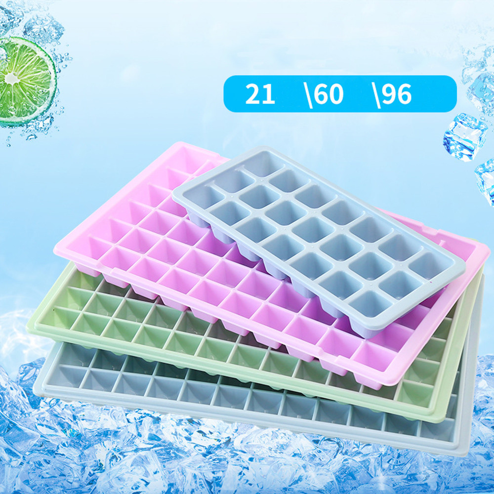 21 60 96 Cavity Ice Cube Tray Box With Lid Cover Drink Jelly Freezer Mold Mould Maker Drop shipping 2018 Hot Sale