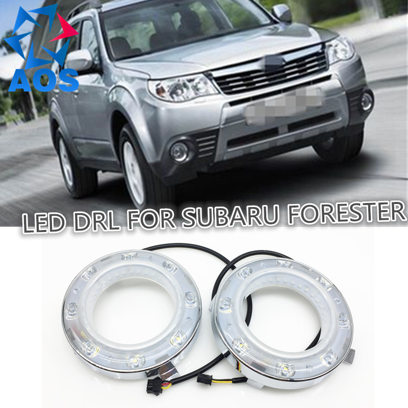 2PCs/set car styling AUTO LED DRL Daylight Car Daytime Running lights set For Subaru Forester 2009 2010 2011 2012 car rear trunk security shield cargo cover for subaru forester 2009 2010 2011 2012 high qualit black beige auto accessories
