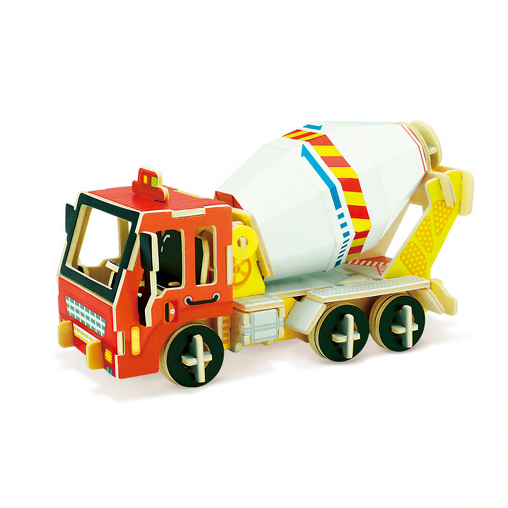 Construction Wooden Toy For Kids Educational 3D Puzzle Mixer Truck Wooden Educational To ...